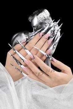 Nail Shapes - My Cool Nail Designs Crazy Nail Art, Crazy Nails, Fancy Nails, Cute Nails, Pretty Nails, Long Stiletto Nails, Long Acrylic Nails, Long Nails, Prom Nails
