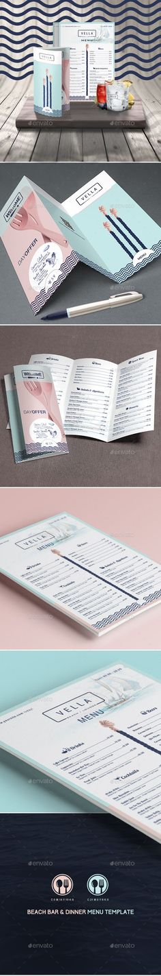 Beach Bar and Dinner or Restaurant Menu Template #print #design Download: http://graphicriver.net/item/beach-bar-and-dinner-or-restaurant-menu-template/10854569?ref=ksioks