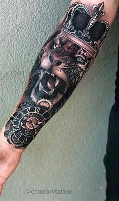 Lion Forearm Tattoos, Lion Head Tattoos, Forarm Tattoos, Mens Lion Tattoo, Forearm Tattoo Men, Leg Tattoos, Arm Band Tattoo, Body Art Tattoos, Tribal Tattoos