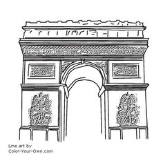 coloring page of the eiffel tower in paris france line art over 300 originals good for crafters too