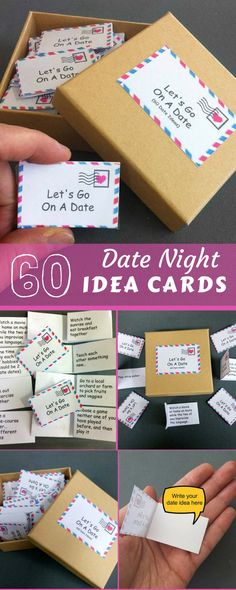 Date Night Box, 60 Date Night Ideas, Romantic Gift, For Wife, For Husband, For Girlfriend, For Boyfriend,Anniversary Gift,First Anniversary #ad