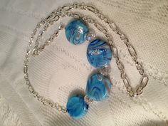 Blue Marble Stones & Crystal Swarovski Necklace