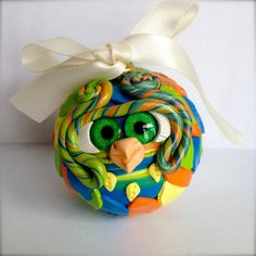 Sherbet  Polymer Clay Owl Ornament w/ Ribbon by TheNakedPeacock, $14.95