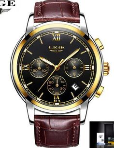 Relogio Masculino LIGE Men Watch Top Brand Luxury Casual Quartz Watches  Waterproof Clock Leather Waterproof Military 919c275199