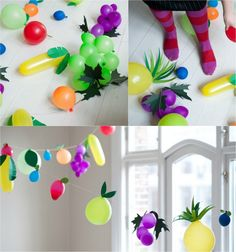 Make carnival decorations - 7 beautiful DIY ideas with balloons Balloons disguised as fruits – garlands adorn the apartment Carnival Decorations, School Decorations, Balloon Decorations, Jungle Room, Balloon Dress, Party Planning, Garland, Activities For Kids, Diy And Crafts