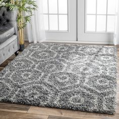 nuLOOM Soft and Plush Keyhole Trellis Shag Dark Grey Rug (8' x 10') - 17681899 - Overstock.com Shopping - Great Deals on Nuloom 7x9 - 10x14 Rugs
