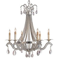 The Chartres Chandelier is old world Glamour at its finest. A wrought iron structure is covered in silver leaf and surrounded by stunning cut crystals. Cut crystal pendants are suspended from both the top and the bottom of the fixture, making the Chartres Chandelier truly graceful.