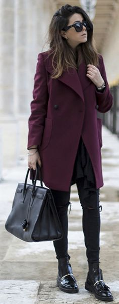 Nicoletta Reggio + vision in maroon + gorgeous coat + skinny jeans + edgy black flats + large bag   Coat: fro Gasmy.it,Trousers: Zara, Bag: Saint Laurent, Boots: Asos. Cute Winter Outfits