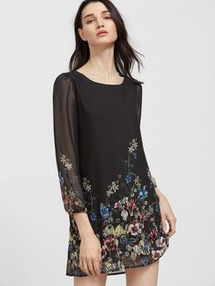 Black Floral Print Long Sleeve Chiffon Dress