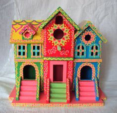 Whimsical Birdhouse Hand Painted Brownstone Style Pink Green Yellow Blue With…