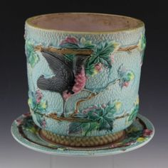 English Majolica Bird and Branch Jardiniere and Underplate