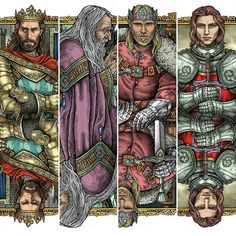 Artist: ° Which one of these is your favorite? Cersei Lannister, Sansa Stark, King Arthur, Gel Pens, Merlin, Jon Snow, Playing Cards, Graphic Design, Illustration