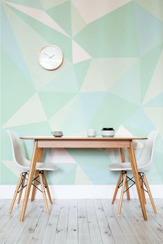 Reinvent your interiors with this wonderfully vibrant and fresh mint geometric wallpaper. It looks fantastic in kitchen and dining room settings, adding a contemporary feel to your home. www.muralswallpaper.co.uk