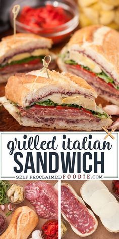 meat food The BEST Loaded Grilled Italian Sandwich is filled with mouthwatering cured meats, marinated veggies, olive tapanade, fresh greens, and melty cheese! Gourmet Sandwiches, Best Sandwich Recipes, Grill Sandwich, Cold Sandwiches, Delicious Sandwiches, Soup And Sandwich, Lunch Recipes, Dinner Recipes, Italian Sandwiches
