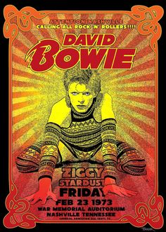 David Bowie Poster, David Bowie Ziggy, Rock Indie, Psychedelic Bands, Psychedelic Posters, Punk Poster, Gig Poster, Hippie Posters, Rock Band Posters