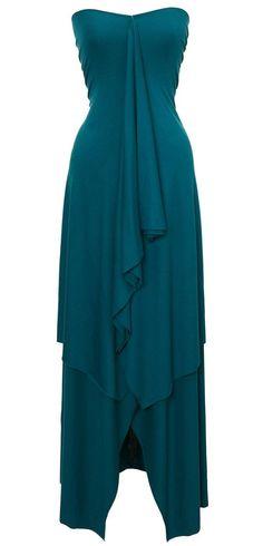 Teal Rayon Spandex Double Layer Strapless Dress resort wear that i like Diy Fashion, Fashion Beauty, Womens Fashion, Fashion Design, Cute Dresses, Beautiful Dresses, Smart Attire, Evening Hours, Resort Wear