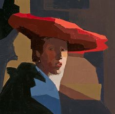 CATHERINE KEHOE PORTRAIT/FIGURE oil on panel. Red Hat, after Vemeer. Shape and colour