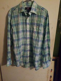 fac2ddd9f Vineyard Vines mens Tucker long sleeve shirt blue green plaid size Large   fashion  clothing