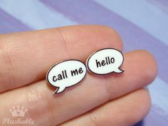 Speech bubble earrings studs by Plushable on Etsy, $6.00