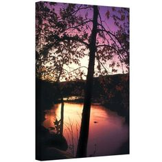Dean Uhlinger Deer Creek Afterglow Gallery-Wrapped Canvas, Size: 24 x 32, Purple