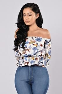 8fbf234ce1a26 Forest Flower Top - Blue. Blue Off Shoulder ...