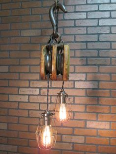 Pulley Light  Metal Light  Steampunk Ceiling Light Industrial
