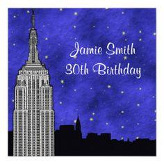 NYC ESB Skyline Silhouette Blue Starry BG Birthday Invites