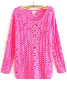Rose Red Cut Out Diamond Knit Round Neck Jumper US$31.15