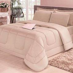 574fb3d34c Kit 6 peças  Edredom Dupla Face Premium Luxo Casa Dona Casal Queen Bege