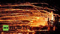 Chios,Greece: Brilliant Easter firework 'war' lights up the sky Chios Greece, Greek Easter, Calendar Date, Greece Islands, Rockets, Fireworks, Light Up, War, Videos