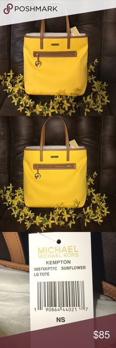 Michael Kors Kempton Lg Tote NWT Bright yellow with brown trim and gold decals. Beautiful Michael Kors Tote! MICHAEL Michael Kors Bags Totes
