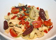Creamy Sun-dried Tomato and Zuchinni pasta.  Could add a homemade Spaghetti Sauce or serve as is.  Loaded with vegetables.