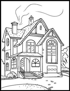 House Coloring Page 11 | Monochrome graphics | Pinterest | House ...