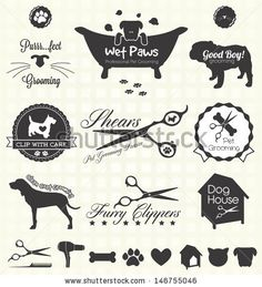 Vector Set: Pet Grooming Labels by James Daniels, via ShutterStock #Pet #Grooming