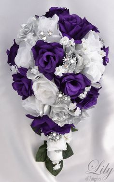 17 Piece Package Bridal Bouquet Wedding Bouquets by LilyOfAngeles