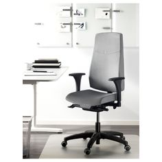 IKEA - VOLMAR Swivel chair with armrests gray