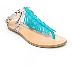 Guess Turquoise Snake Print Guavva3 Fringe Flat Sandal - Women's (3270 RSD) ❤ liked on Polyvore featuring shoes, sandals, turquoise snake print, boho shoes, snake print sandals, bohemian shoes, guess shoes and python shoes