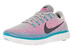 official photos 2121a b1de3 Nike Womens Free Rn Distance Wolf Grey Dark Grey Pink Blast Running Shoe 5