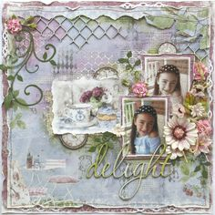 Scrapbook page made by Maja Design team member Gabrielle Pollacco using the NEW Coffee in the Arbour collection, Shimmerz Sprays (Bed of Roses and Key Lime) and Dusty Attic chipboard Scrapbook Paper Crafts, Scrapbook Cards, Shabby Chic Embellishments, Mixed Media Scrapbooking, Scrapbooking Ideas, Digital Scrapbooking, Scrapbook Page Layouts, Scrapbook Designs, Scrapbook Patterns