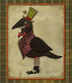 Mr. Crow stitchery epattern - primitive and vintage inspired embroidery or wool felt applique pattern halloween. $3.00, via Etsy.