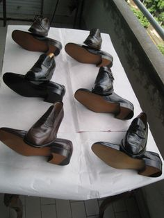 brown and black leather side buckle shoes. English style