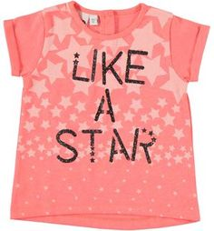 Fluorescent t-shirt with stars and glitter text PINK