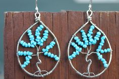 Hammered Sterling Silver and Turquoise Tree of Life Earrings, by Cindy Larson Accessories
