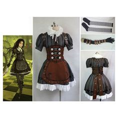 Items similar to Made to Order Steampunk Alice in Wonderland The... ❤ liked on Polyvore featuring costumes, alice costume, alice in wonderland cosplay costume, cosplay costumes, steampunk halloween costume and alice halloween costume