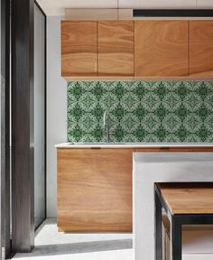 Keukenbehang AZULEJOS green