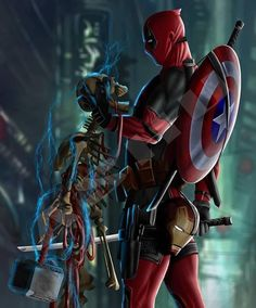 Deadpool is the true OP Who wants him in the avengers storylines? Guardians with Thor would be cool! Marvel Dc Comics, Marvel Avengers, Marvel Art, Marvel Heroes, Deadpool Tattoo, Deadpool Art, Deadpool Wallpaper, Avengers Wallpaper, Deadpool Pikachu