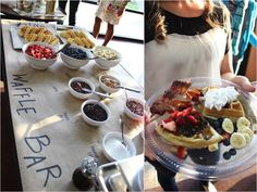 WAFFLE BAR! Baby Shower ideas via Kara's Party Ideas | Kara'sPartyIdeas.com #RusticChic #BabyShower #WaffleBar