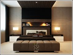 Bedroom Interior. Sophisticated Master Bedroom Inspiration Designs: Contemporary Master Bedroom With Black Comfortable Master Single Bed Wit...