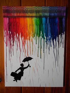 24 x 18 Canvas Melted Crayon with hand painted Mary Poppins Painting is sealed for protection.