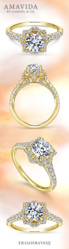 Gabriel & Co. - Voted #1 Most Preferred Bridal Brand.   18k Yellow Gold Round Halo Engagement Ring.
